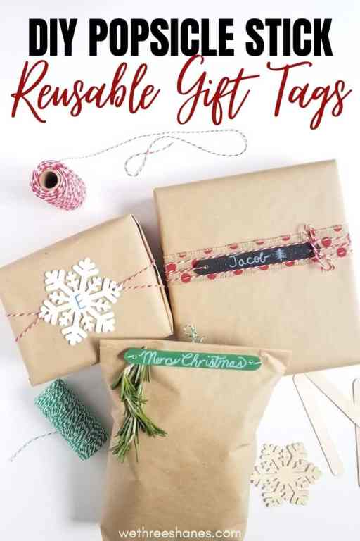 An easy to follow tutorial for making these simple yet elegant DIY craft stick gift tags that add a personal touch to gifts.   | We Three Shanes