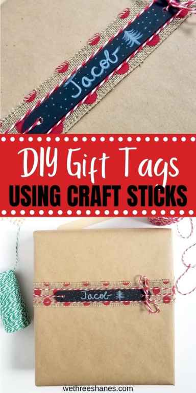 Make these reusable gift tags using craft sticks from the Dollar Tree. They are a simple yet fun way to add a personal touch when wrapping presents. | We Three Shanes