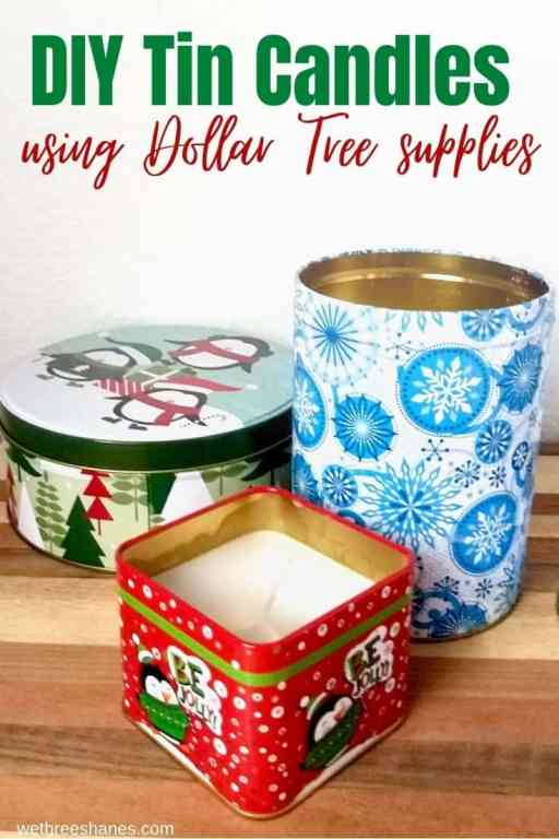 DIY Christmas tins are easy to make and the perfect addition to holiday decor. They smell great and add a cozy feel to any home. | We Three Shanes