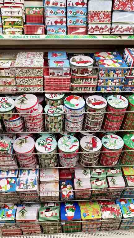 Rows and rows of Dollar Tree tins in tons of holiday styles.
