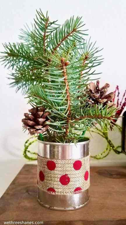 Make this simple Christmas arrangement craft with items from around the house. It's a cute addition to your holiday decor.   We Three Shanes