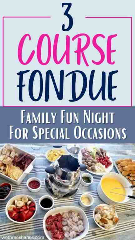 Celebrate a special occasion at home with a family fondue night. Find family friendly fondue recipes and tips for making your fondue dinner a fun dinner everyone will love! | We Three Shanes
