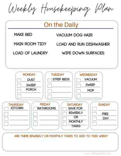 Weekly Cleaning Schedule that can be adjusted to fit your busy life. | We Three Shanes