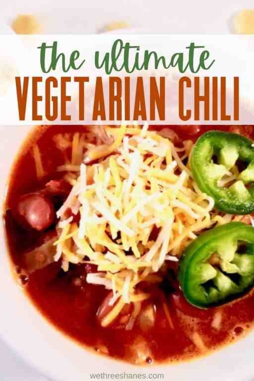 This crockpot vegetarian chili recipe is the ultimate in satisfaction. It's incredibly delicious and healthy. | We Three Shanes