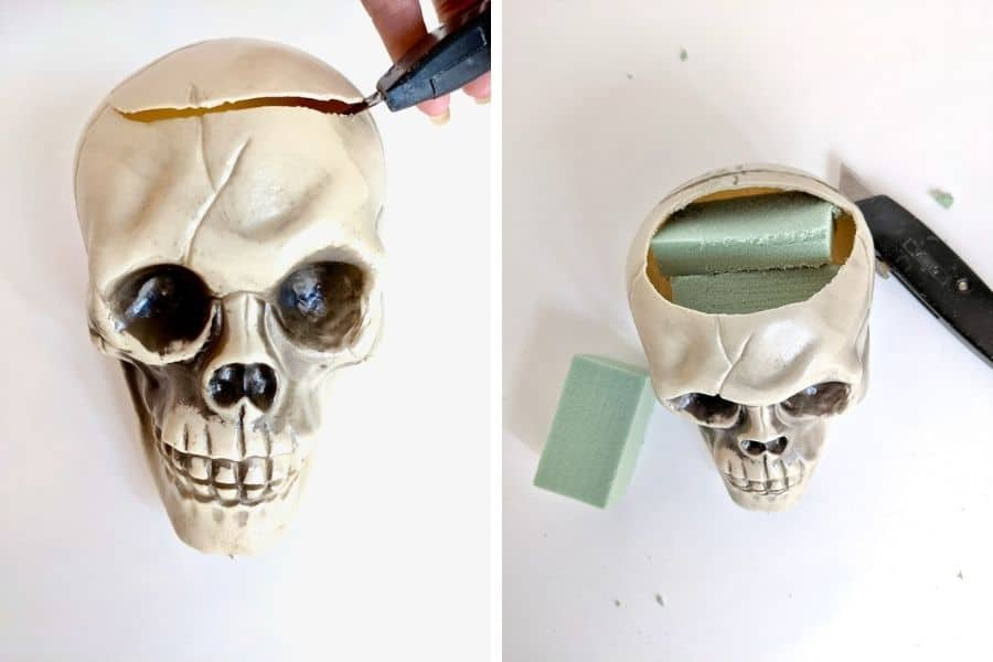 two side by side pictures of skulls.  The one on the left shows the top being cut off and the one on the right shows foam being put inside of it.