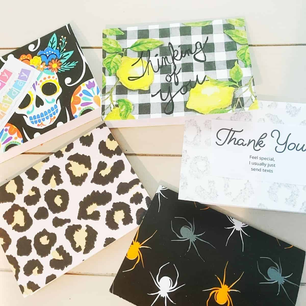 Use napkins to make your own greeting cards. | We Three Shanes