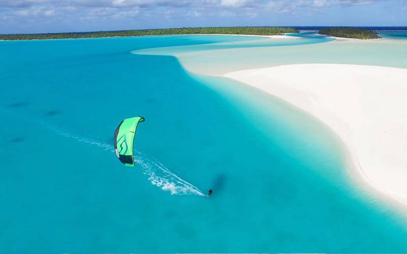 Kiteboarding  Aitutaki Cook Islands  Kitesurfing