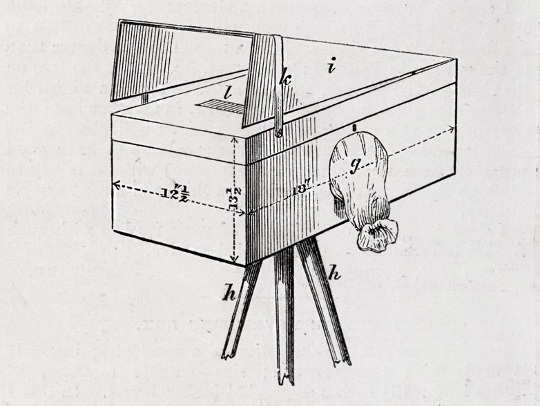 Different models of portable darkrooms. Engravings from s