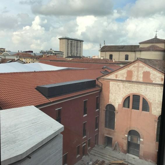 la vista dell'ex convento e del duomo di Mestre
