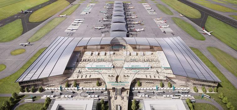 Rendering del nuovo terminal dell'aeroporto di London gatwick