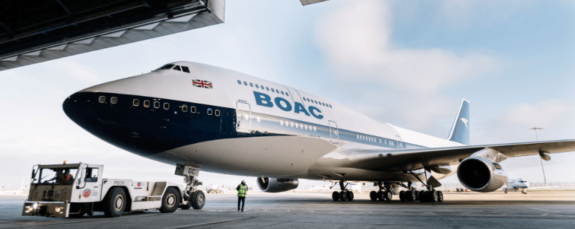 B747 British Airways con livrea BOAC