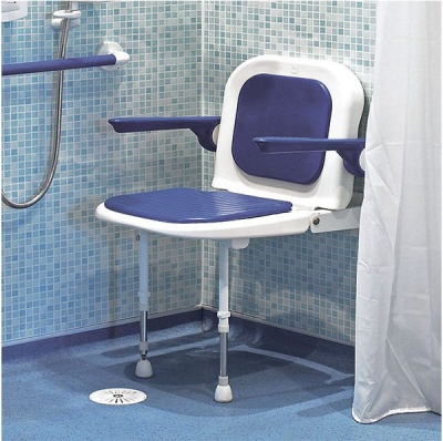 Wall Mounted Fold Up Blue Padded Shower Seat Back and Arms