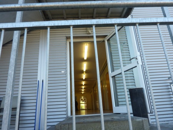 Eingang der Flüchtlingsunterkunft in Friedberg