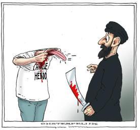 """Karikaturisten lassen sich nicht einschüchtern. Als erste Reaktion auf das Pariser Massaker veröffentlichten 23 Zeichner gemeinsam ihre Cartoons zum Attentat. Hier der Niederländer Joep Bertrams. Sein Motto: """"Unsterblich"""""""