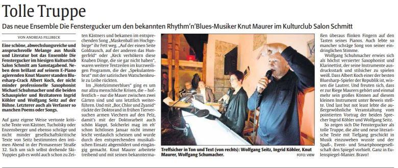 Artikel in der Rheinpfalz