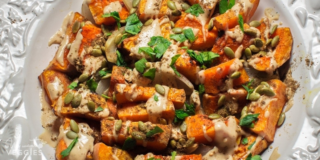 Roasted Butternut Squash With Lime Tahini