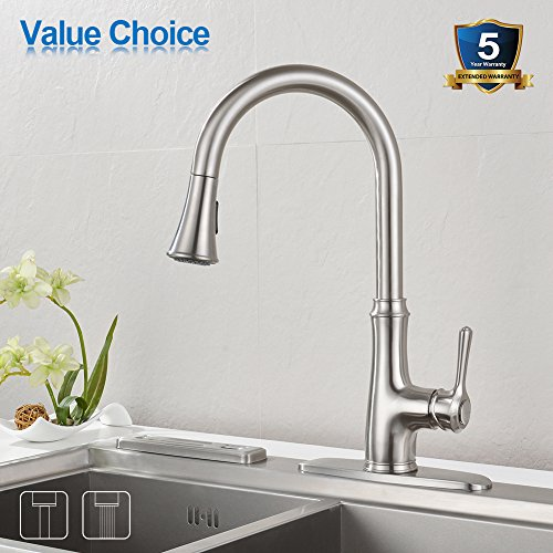 kitchen faucets stainless steel what to use clean wood cabinets faucet pull down sprayer wewe a1008l sink 2017