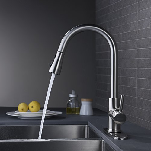 wewe single handle high arc brushed nickel pull out kitchen faucet single level stainless steel kitchen sink faucets with pull down sprayer
