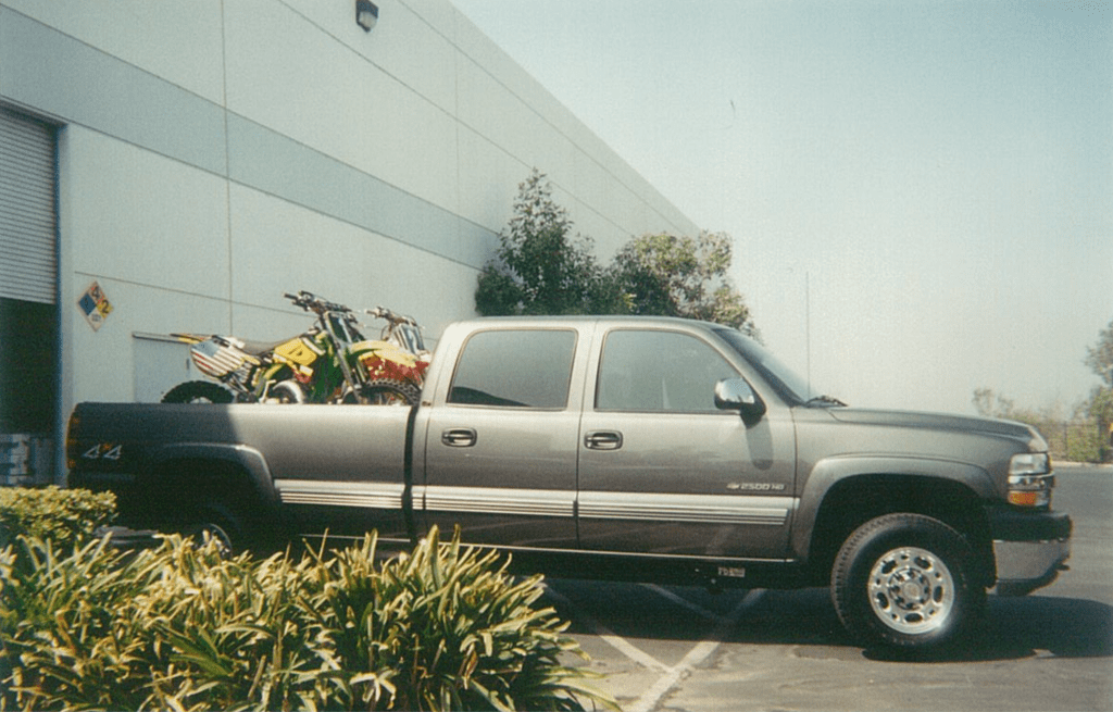 The three unridden des Nations bikes loaded into a pickup belonging to Chad Watts - Mitch Payton Photo
