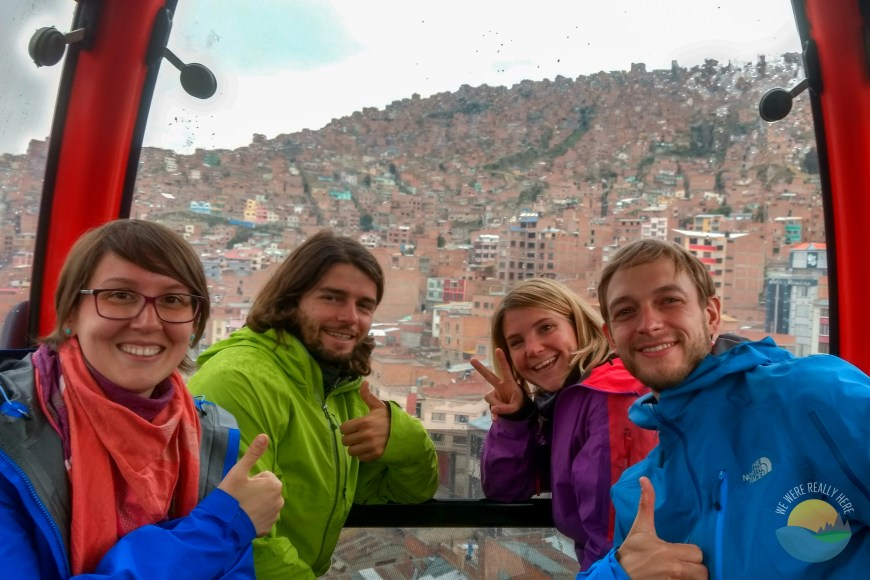 On a cable car in La Paz