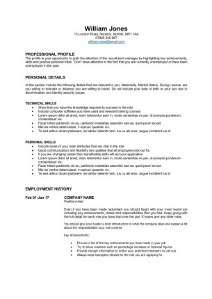 Free CV Template - career change CV template