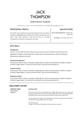 Black and White CV Templates