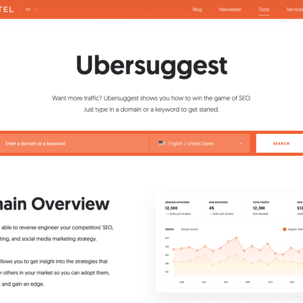 Ubersuggest - website analysis tool