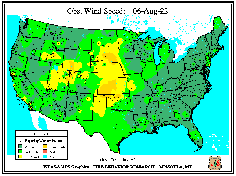 Observed Wind Speed. Click to go to USFS Wildland Fire Assessment System pages