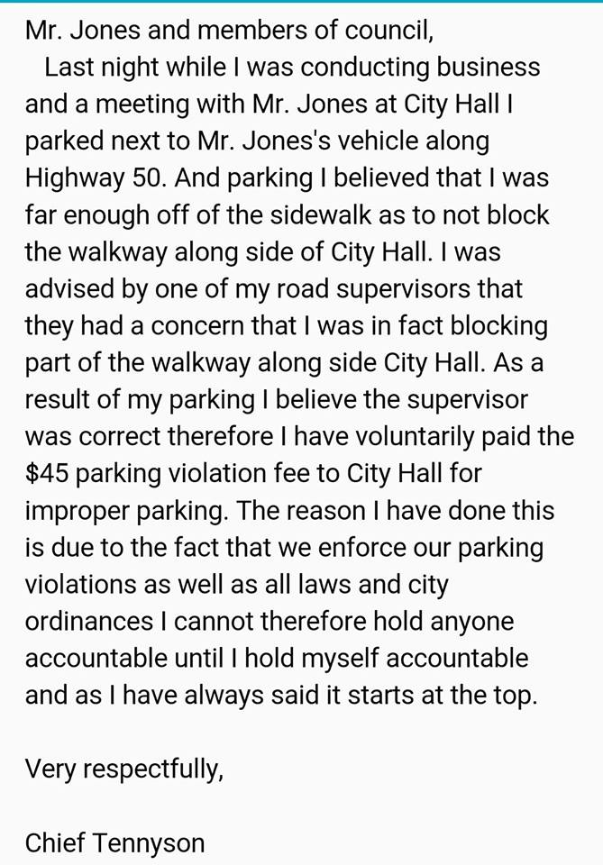 Florida police chief writes himself a ticket after parking