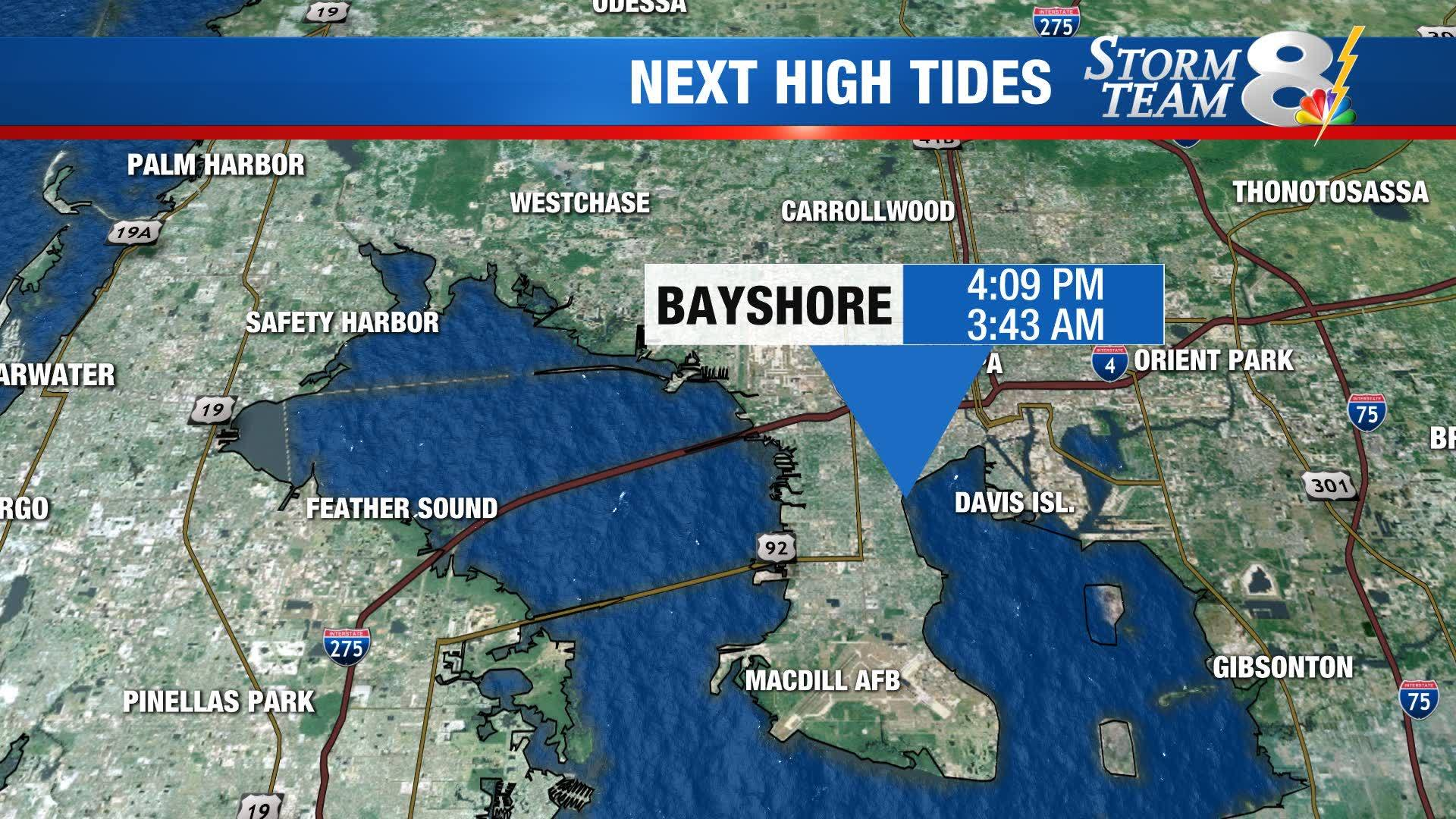 High tide times in Tampa Bay