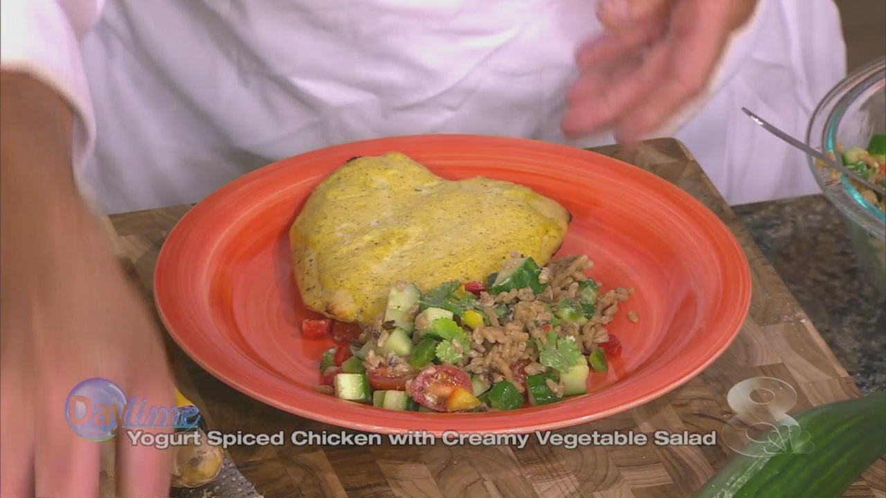 Spiced Yogurt Chicken with Creamy Vegetable Salad