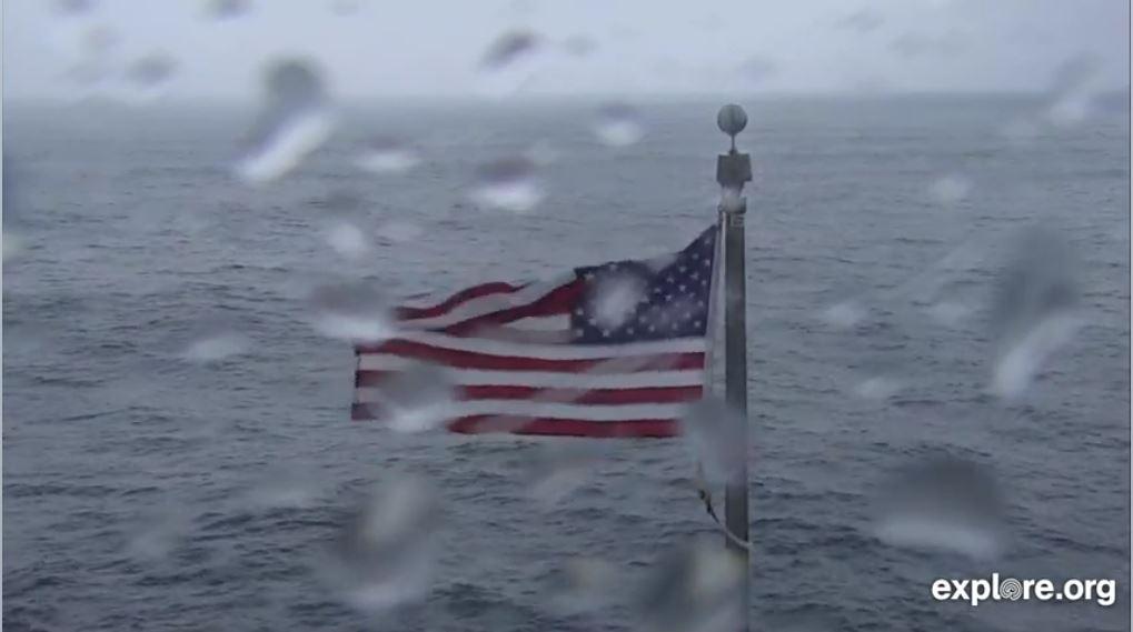 Hurricane Dorian hitting infamous Frying Pan American flag