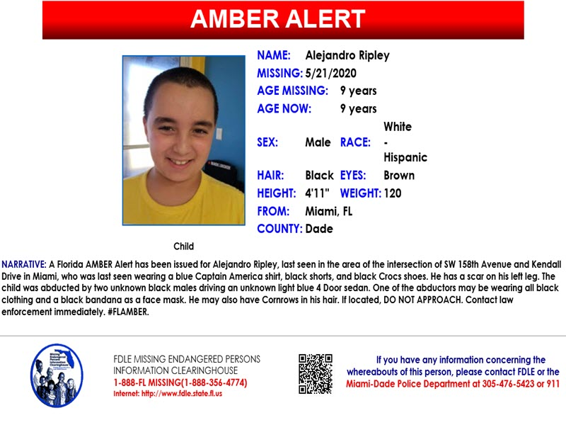 Statewide Amber Alert Issued For 9 Year Old Boy Abducted