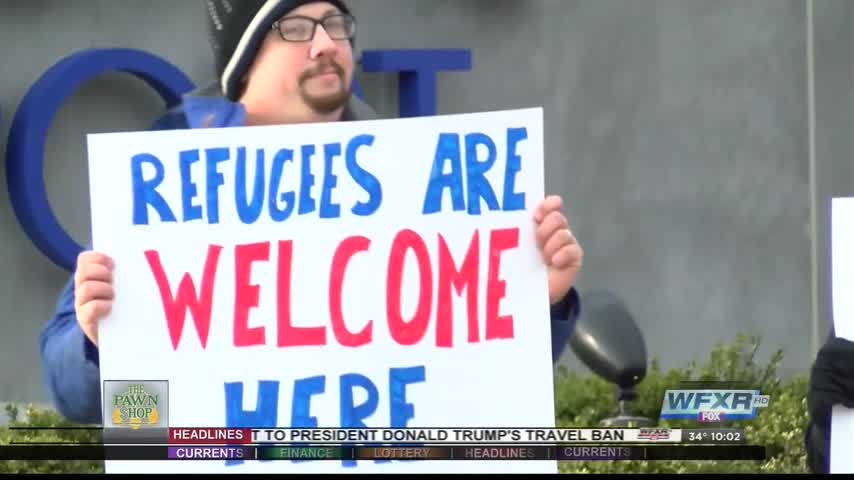 Locals protest immigration ban