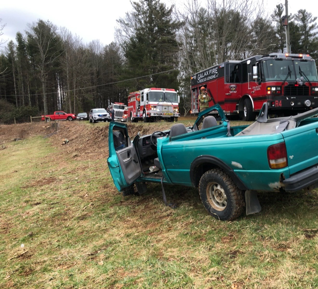 Galax firefighters had to remove a passenger trapped inside a pickup truck that had rolled off the road in a multi-vehicle crash on Sunday, Feb. 16. (Photo: Courtesy Galax Fire Department)