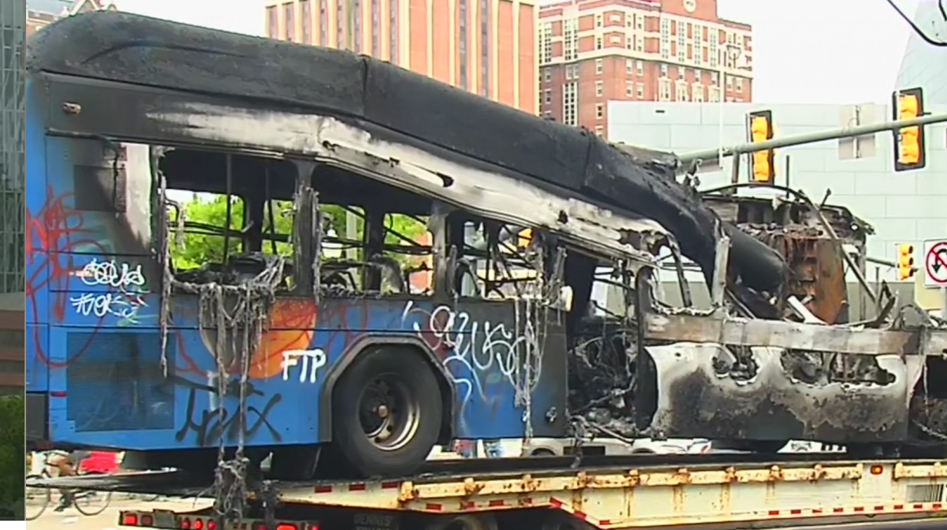 A GRTC Pulse bus was set on fire at the intersection of West Broad Street and Belvidere Street during the protest in Richmond on Friday, May 29.