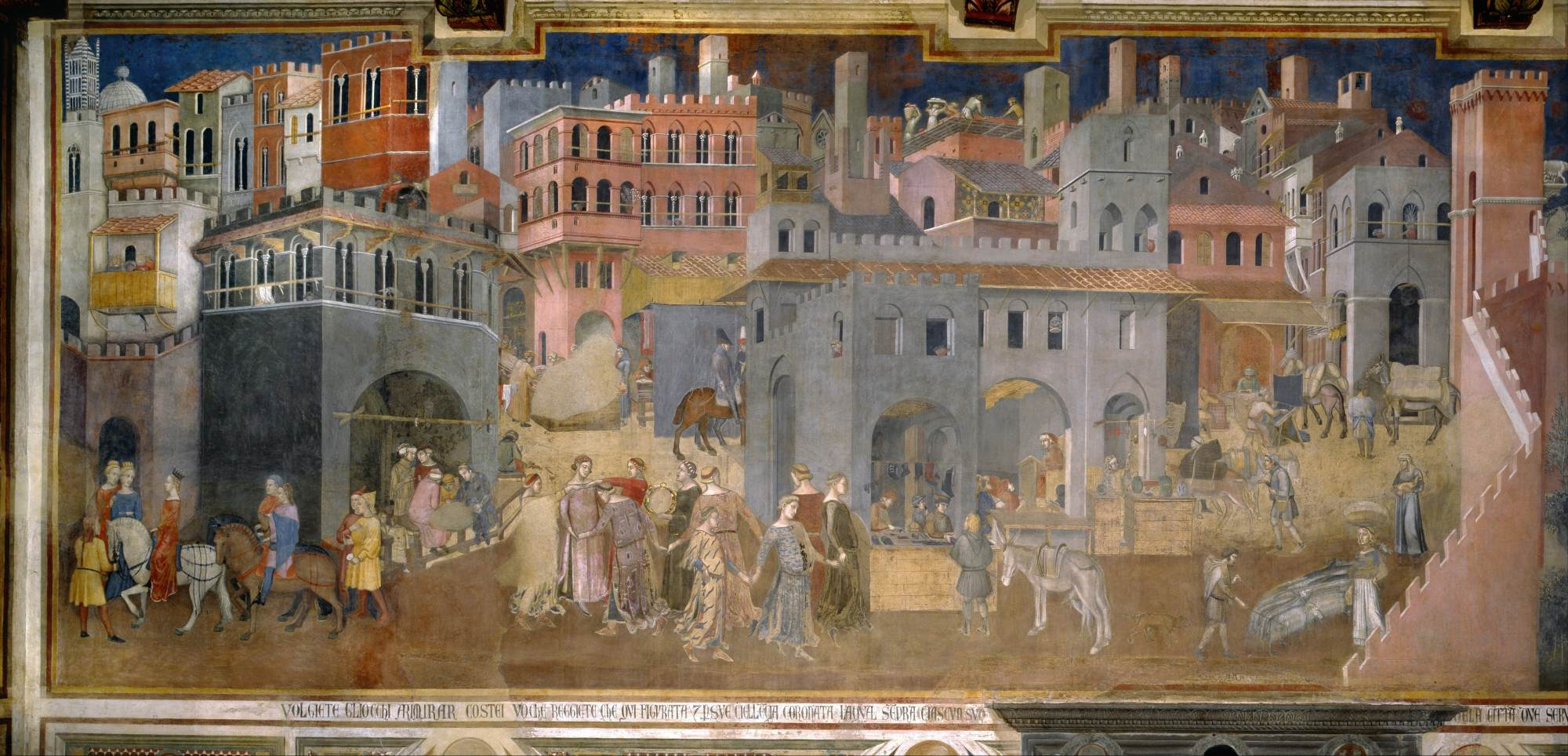 Ambrogio Lorenzetti, Peaceful City, detail from Effects of Good Government in the City and in the Country