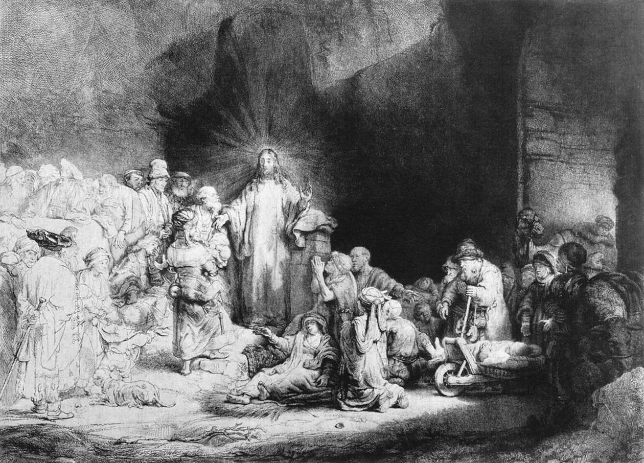 The Little Children Being Brought to Jesus (The 100 Guilder Print)
