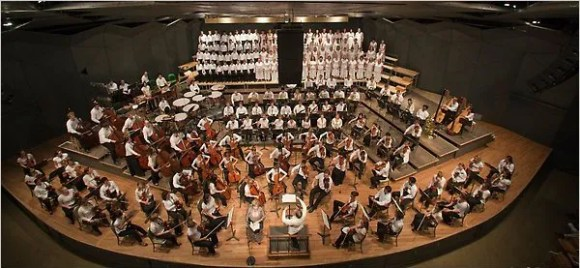 Tanglewood stage with chorus