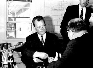 German Chancellor Willy Brandt interviewed at WGBH temporary studios (Greg Harney upper right)