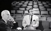 Eliott Norton and Harry Belafonte wait for tape to be ready