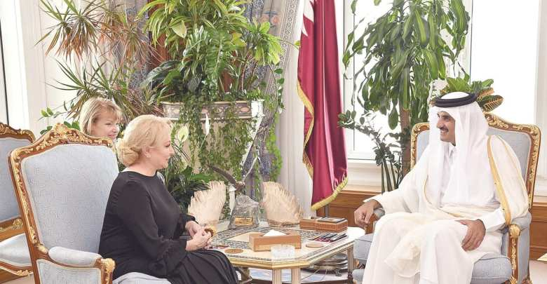 HH The Amir meets Romanian prime minister