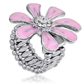 Pink Flower Ring - One Size Fits All