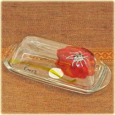 Hand Painted Glass Butter Dish - Poppy