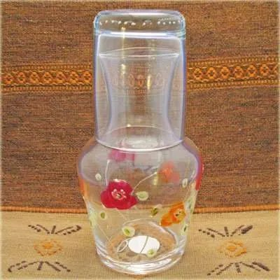 Hand Painted Glass Carafe - Flowers