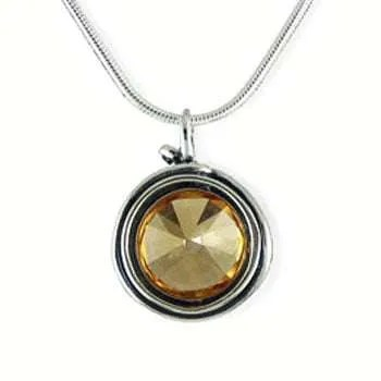 Amber Crystal and Silver Pendant