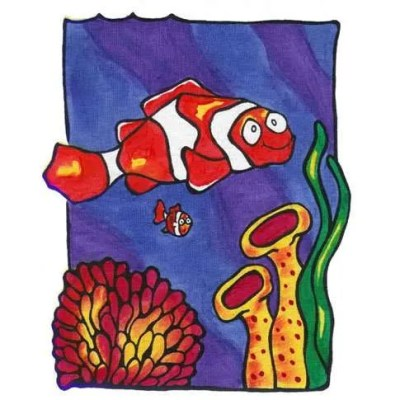 Clown Fish Painted on T-Shirt