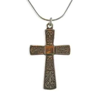Ornate Silver Cross with Gold Center