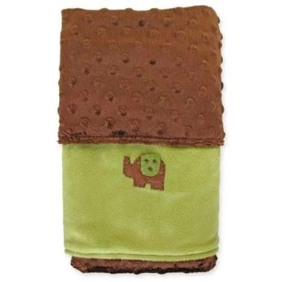 Twinklebelle Mint Green and Chocolate Minky Blanket - Elephant