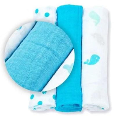 Lulujo Mini Muslin Cloths - Blue